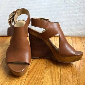 Chestnut brown Michael Kors platform Wedge